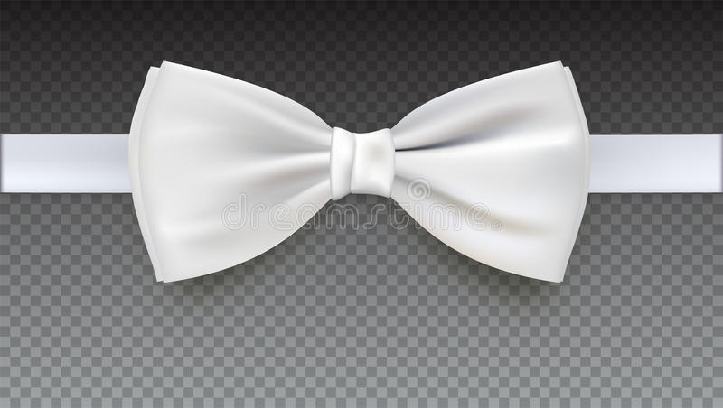 Realistic white bow tie, vector illustration, on transparent background. Elegant silk neck bow royalty free illustration