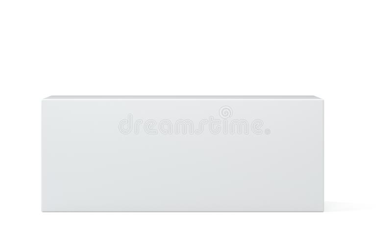Realistic white box, cube, podium or blank pedestal. White platform. 3d illustration. stock illustration
