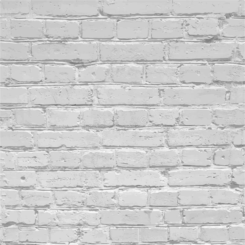 Realistic white brick wall texture, background template, vector. Illustration stock illustration