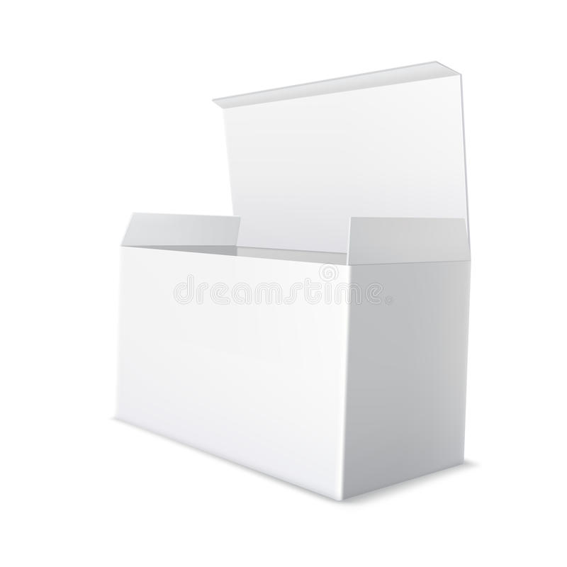 Realistic white cardboard package. Open, empty blank box. royalty free stock photo