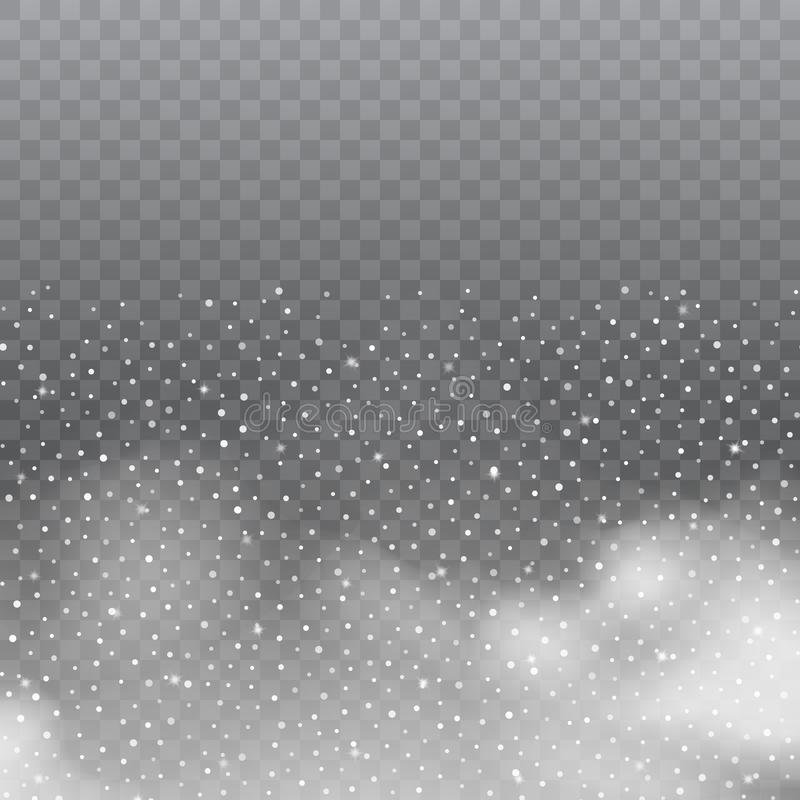 Realistic white clouds or fog on transparent background. Vector. stock illustration