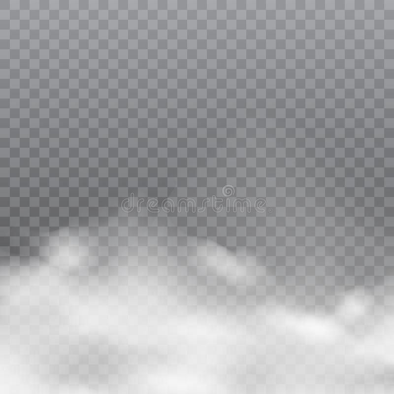 Realistic white clouds or fog on transparent background. Vector. vector illustration