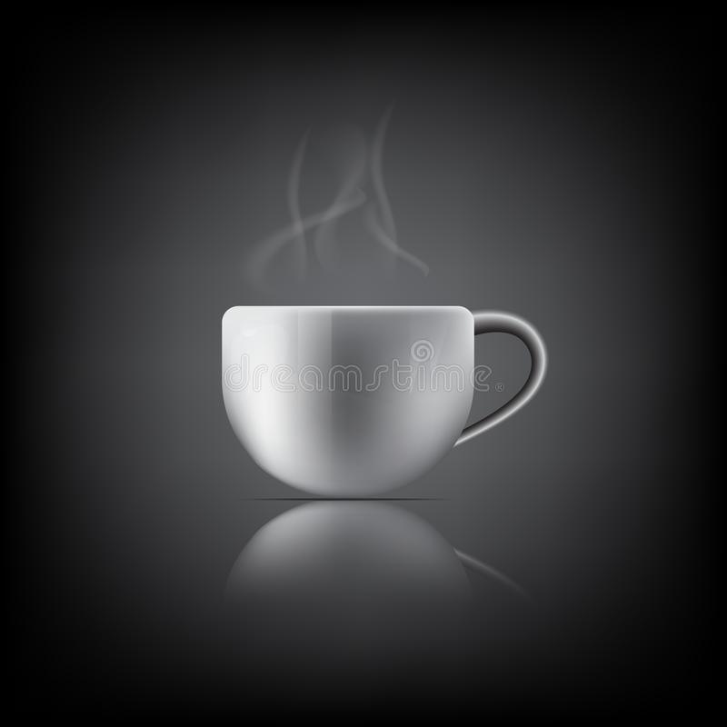 Realistic White Coffee Cup with Steam on black Background. Vector, Illustration vector illustration