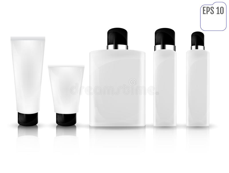 Realistic white cosmetic bottles on white background. Cosmetic c vector illustration
