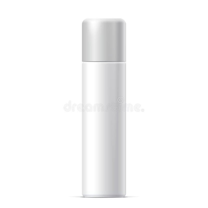 Realistic White Cosmetics bottle can Spray stock illustration