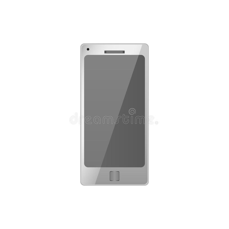 Realistic white electronic technology device with empty screen. mobile phone, smartphone modern digital gadget isolated on white b. Realistic electronic royalty free illustration