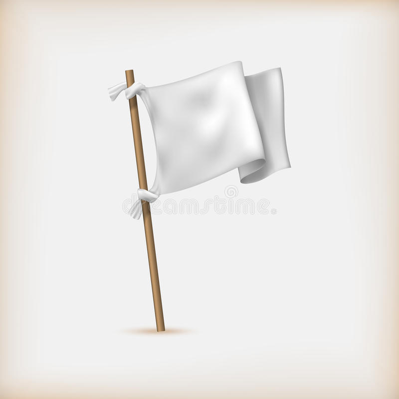 Realistic White Flag Icon. Surrender Concept. Banner Template. Vector vector illustration