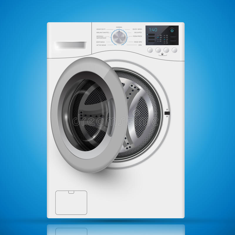 Realistic white front loading washing machine on a blue backgro. Und. Front view, close-up. 3d realistic vector washer. opened door stock illustration