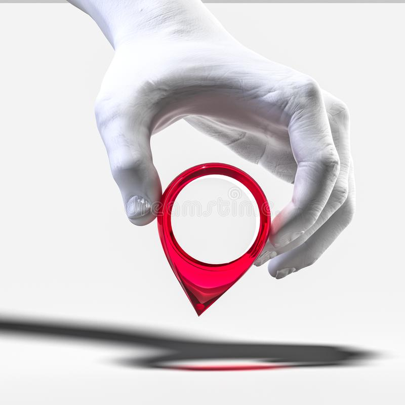 Free Realistic White Human Hand Holding Red Map Pin Geotag Isolated On White Background. 3d Rendering Stock Image - 164760561