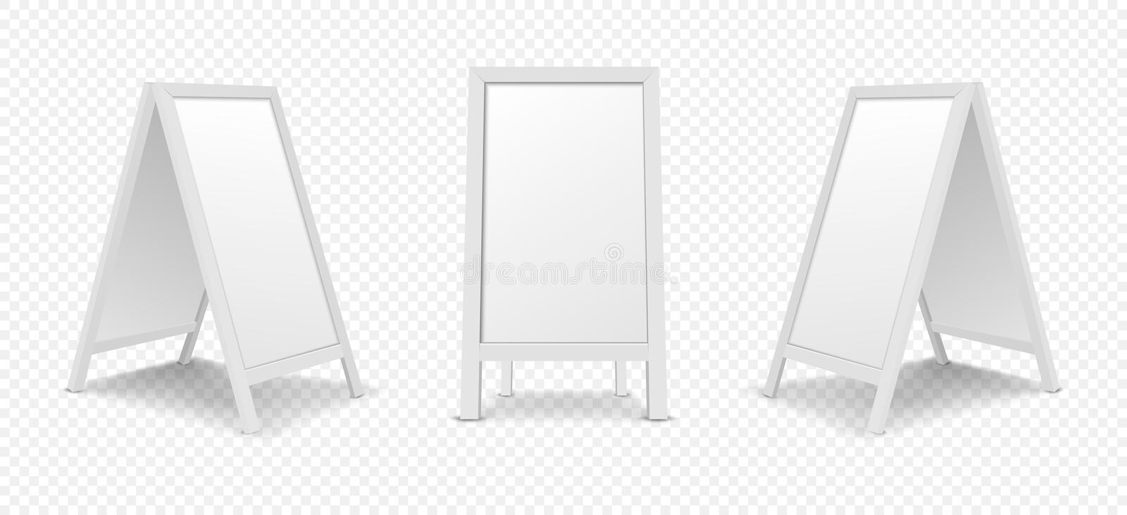 Realistic white menu announcement board icon set isolated royalty free illustration