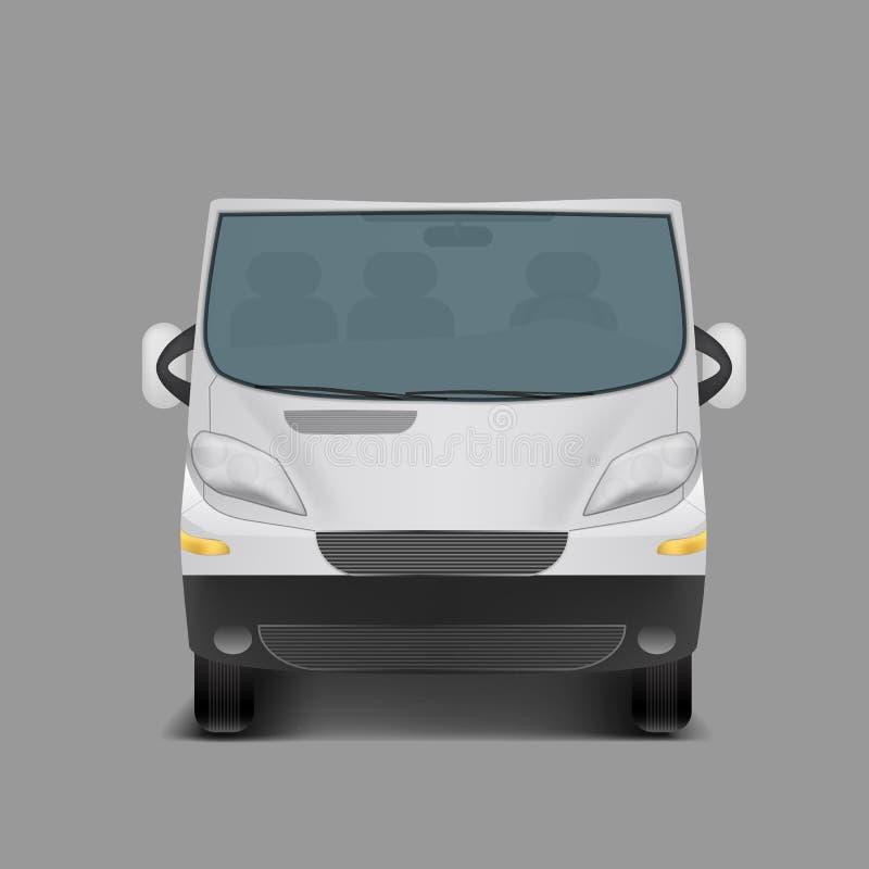 Realistic white minivan, city minibus. Vector realistic white minivan, city minibus, front view, with shadow, on gray background vector illustration