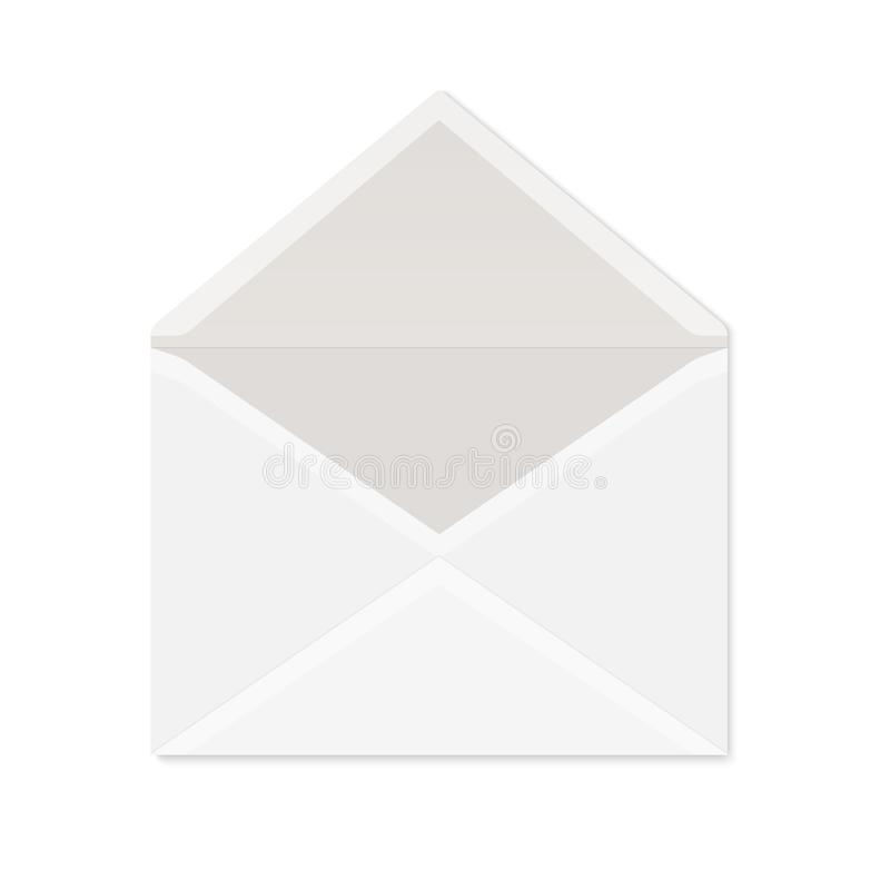 Realistic white paper envelope for postcard or invitation. Blank vector mockup of opened envelope with shadow on white background. Blank vector mockup of opened stock illustration
