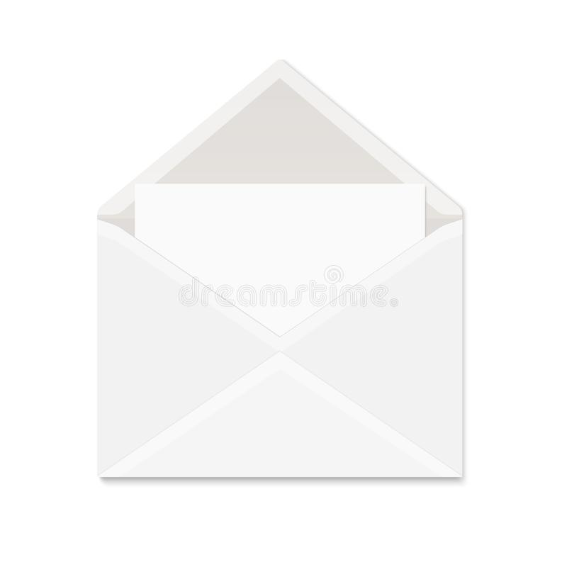 Realistic white paper envelope with shadow on white background. Blank vector mock up of opened envelope with empty postcard for message vector illustration