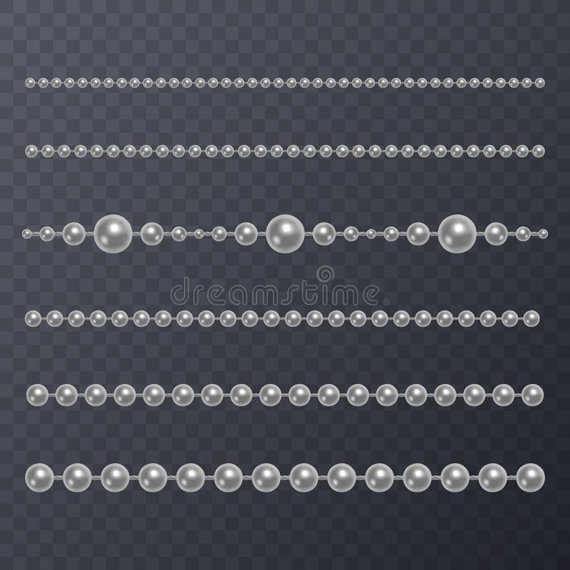 Realistic white pearl on transparent background, white beads, vector illustration vector illustration