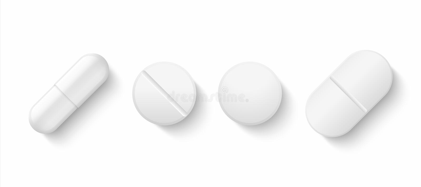 Realistic white pills. 3D drugs medicine capsules and vitamins, healthcare pharmacy tablets. Vector different isolated. Painkillers medicines on white vector illustration