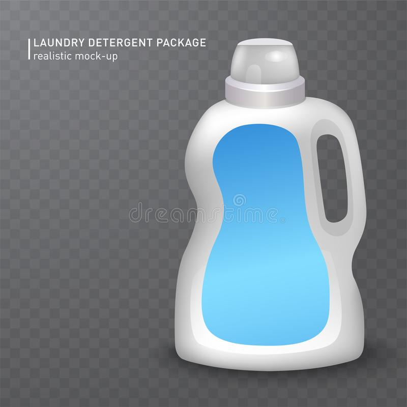 Realistic white plastic bottle on transparent background for liquid laundry detergent, shampoo, bleach, soap, cream stock illustration