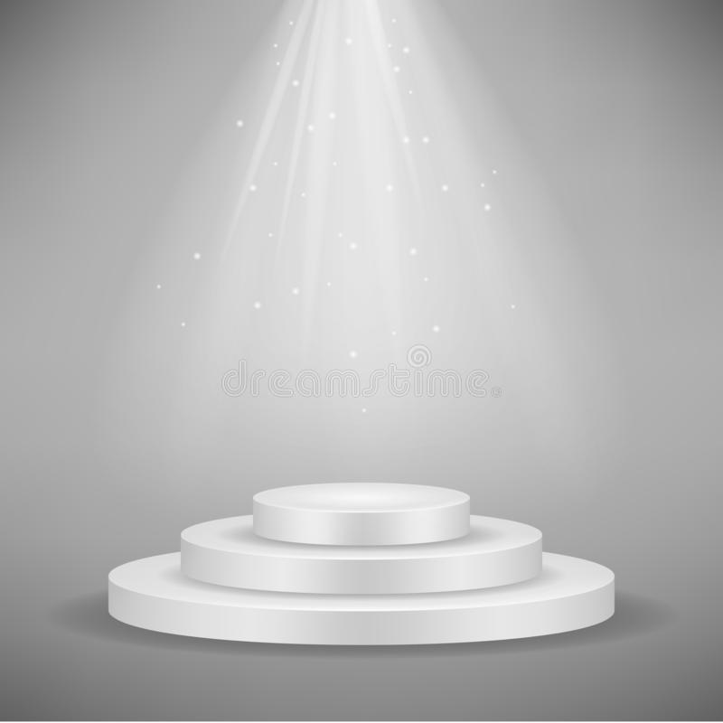 Realistic white round podium, pedestal or platform illuminated by spotlights on gray background. Vector illustration royalty free illustration
