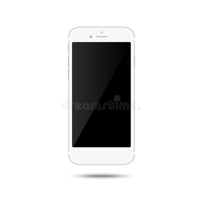 Realistic white smartphone isolated on white background. Blank background. Vector illustration vector illustration