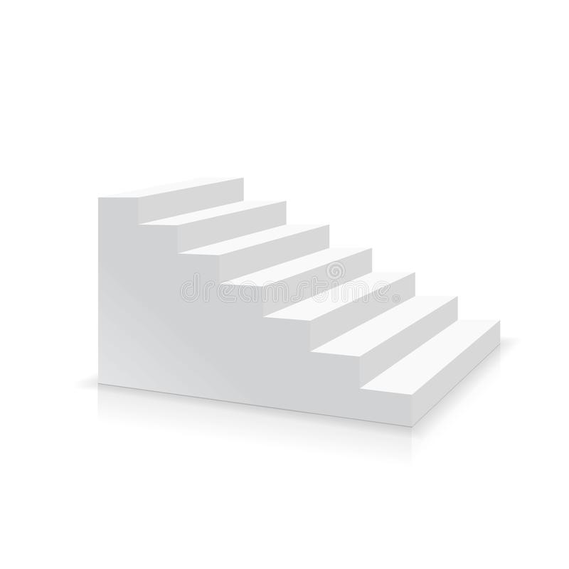 Free Realistic White Stair Side View Vector Royalty Free Stock Photography - 105640787