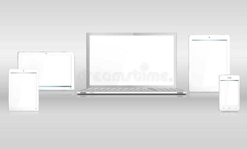 Realistic White Steel Mobile Computer Devices with Laptop Tablet Smartphone stock illustration
