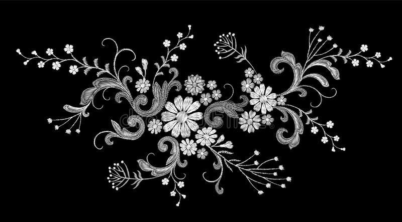 Realistic white vector embroidery fashion patch. Flower rose daisy leaves vintage victorian design. Stitch texture. Floral arrangement clothes decoration vector illustration