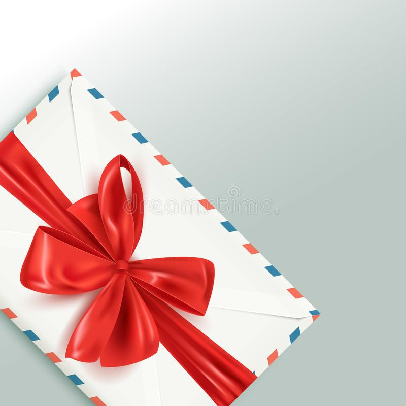 Realistic white vintage envelope with decorative red bow, Happy Valentine`s Day card, vector illustration vector illustration