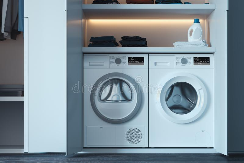 Washing and dryer machines with laundry detergent and clothes. 3d rendering. Realistic white washing and dryer machines with laundry detergent and clothes above vector illustration