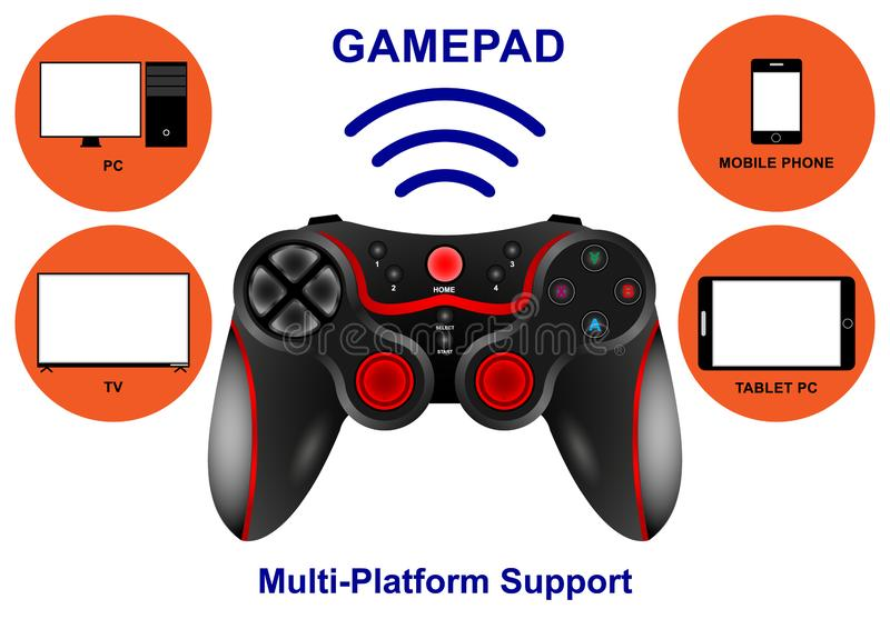 Realistic wireless Gamepad multi-platform Support for PC, TV, Tablet, Smartphone isolated on white background. Vector Illustration stock illustration