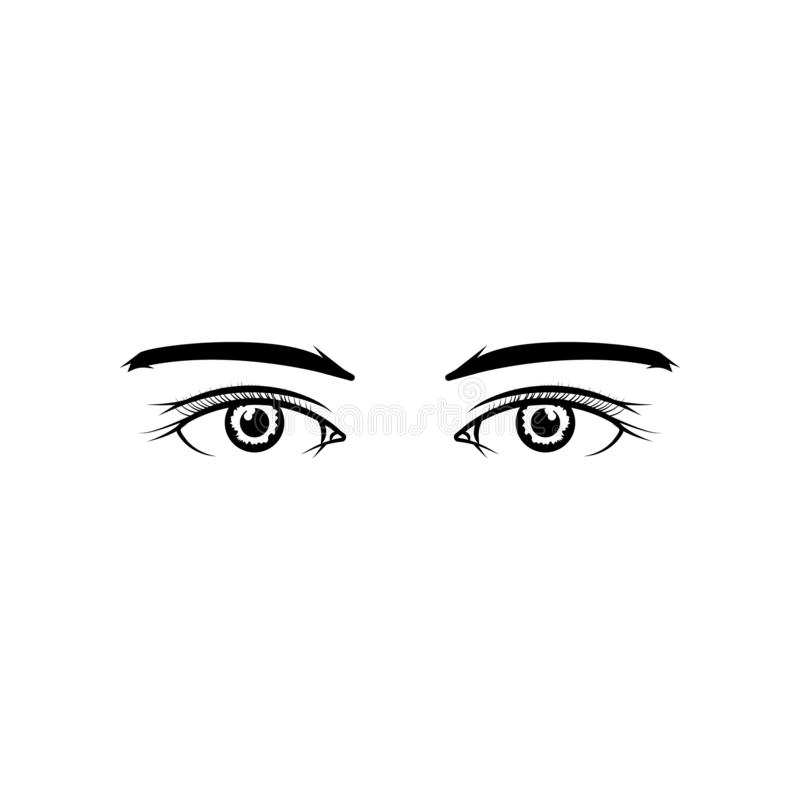 Realistic Woman Eyes Black And White Vector Illustration On White