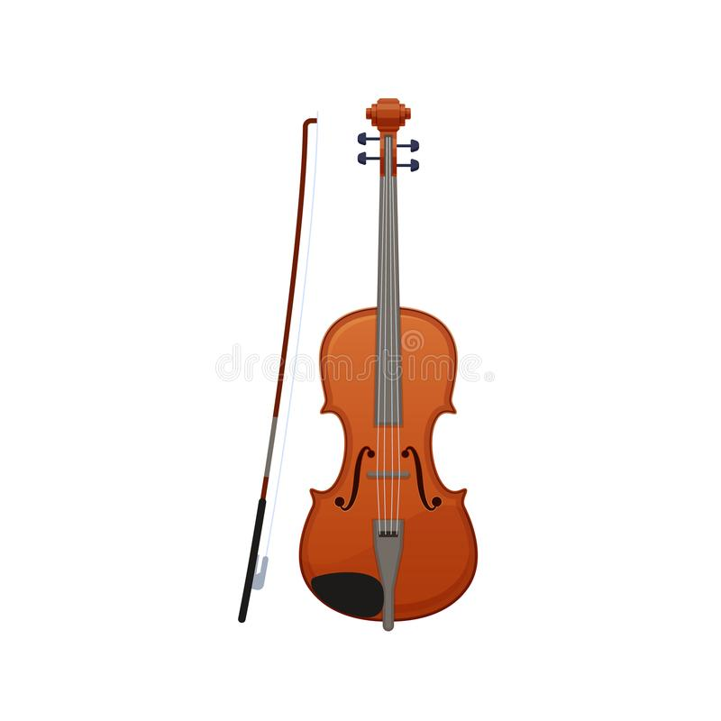 Free Realistic Wooden Musical Violin, With Wand. Carved Classical Musical Instrument. Stock Images - 112317224