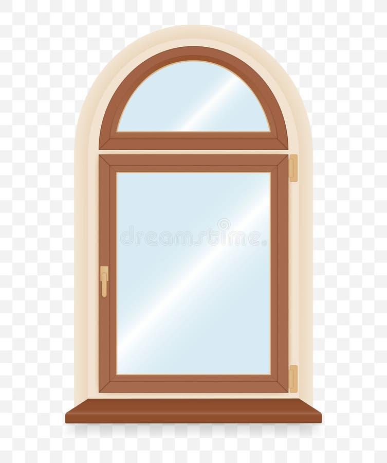 Realistic wooden plastic window royalty free illustration
