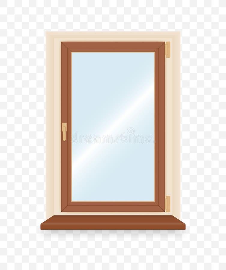 Realistic wooden plastic window vector illustration
