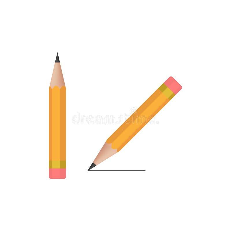 Realistic wooden writing pencil vector icon. vector illustration