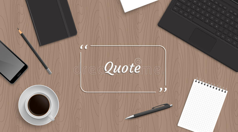 Realistic workplace organization with quote stock illustration