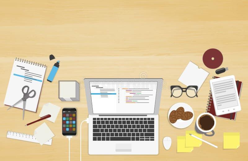 Realistic workplace organization vector illustration