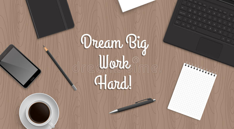 Realistic workplace table with quote vector illustration