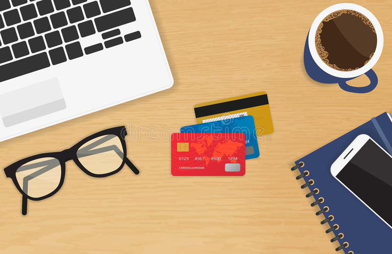 Realistic workplace with three credit cards concept of online payment and shopping vector illustration