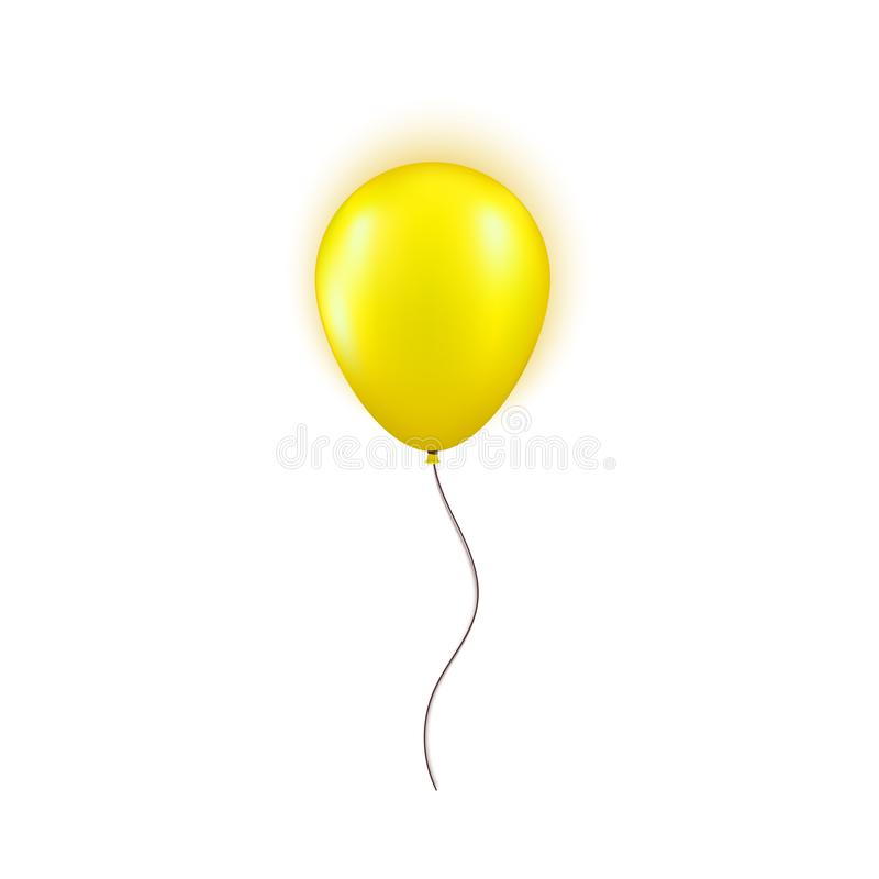Realistic yellow balloon isolated on white background. Design element for Birthday party, grand opening or Big Sale vector illustration