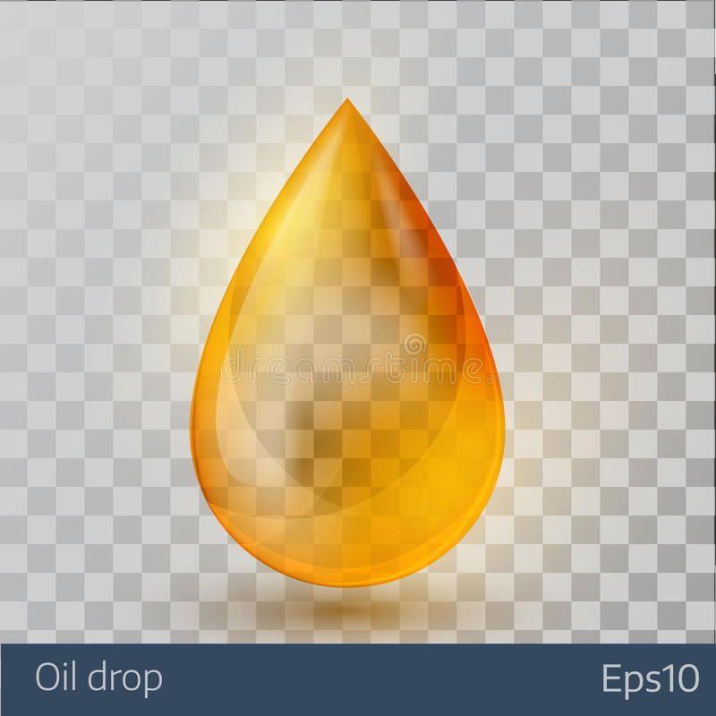 Realistic yellow oil drop on white background. royalty free illustration
