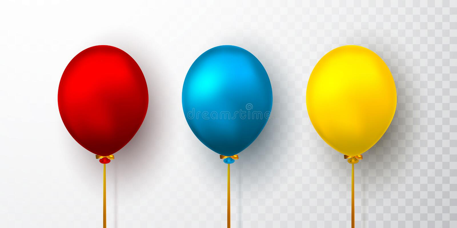 Realistic yellow, red and blue balloons on transparent background with shadow. Shine helium balloon for wedding, Birthday, parties stock illustration