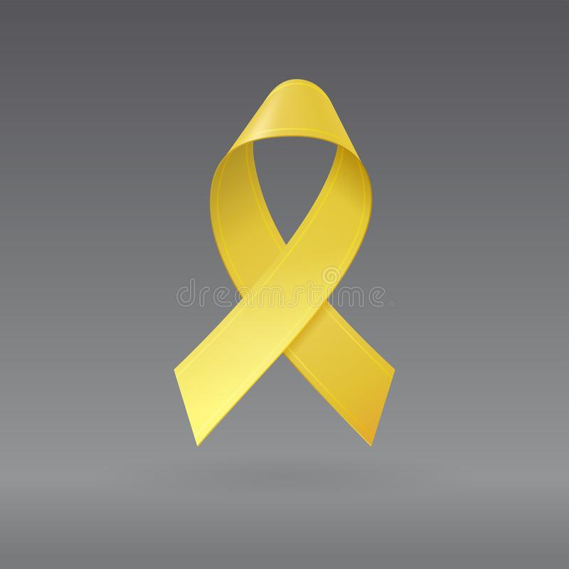 Realistic Yellow Ribbon on isolated dark gray background. Childhood Cancer Awareness symbol in September. Template for. Banner, poster, invitation, flyer stock illustration