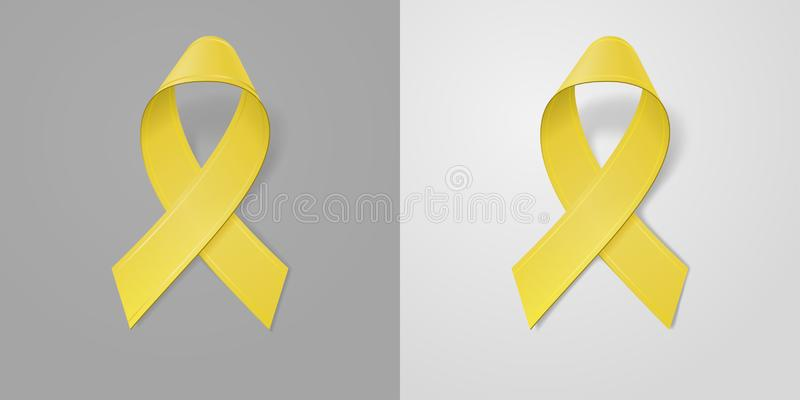 Realistic Yellow Ribbon on light and dark gray background. Childhood Cancer Awareness symbol in September. Template for banner,. Poster, invitation, flyer stock illustration