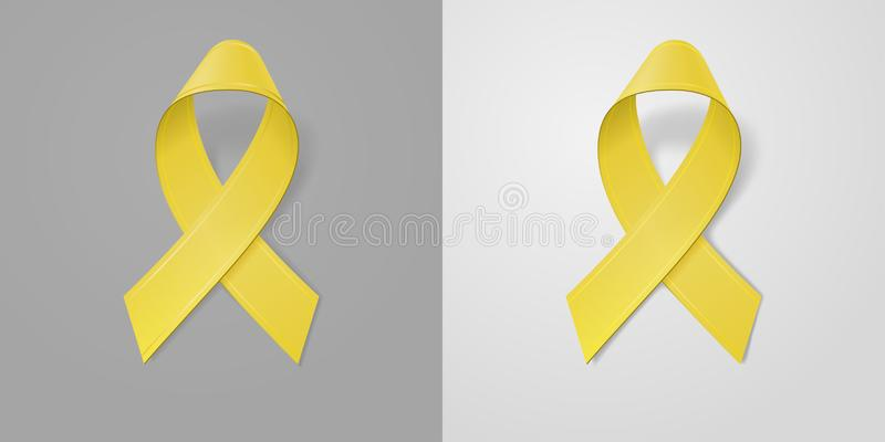 Realistic Yellow Ribbon on light and dark gray background. Childhood Cancer Awareness symbol in September. Template for. Banner, poster, invitation, flyer vector illustration