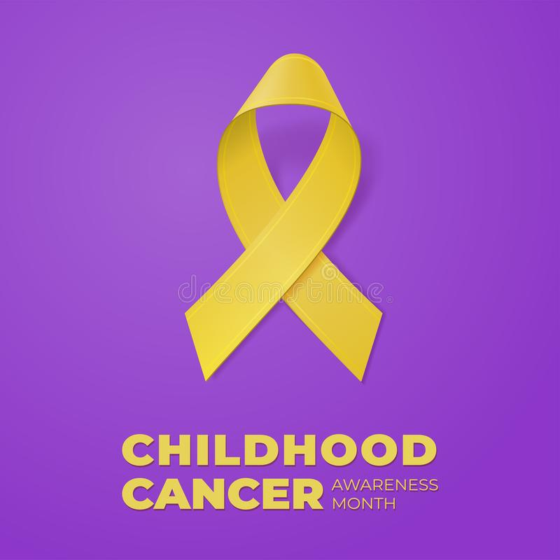Realistic Yellow Ribbon on violet background. Template for banner, poster, invitation, flyer. Childhood Cancer Awareness. Month typography. Vector illustration stock illustration
