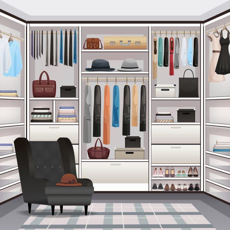 Realistico interno del guardaroba del guardaroba illustrazione vettoriale
