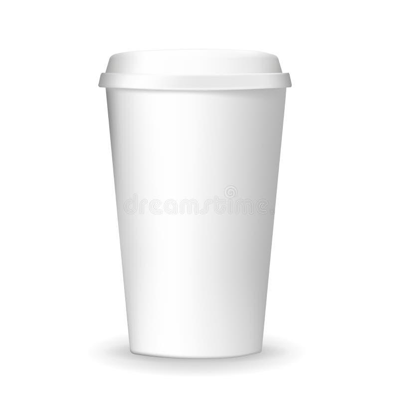 Realistico, normale ed in bianco, andare e modello di carta asportabile della tazza di caffè illustrazione vettoriale