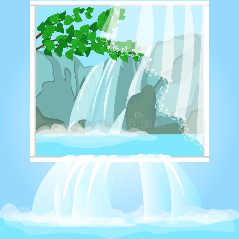 Realistisch beeld met boswaterval Natuurbescherming, milieubescherming Het water wordt gegoten in het binnenland royalty-vrije illustratie