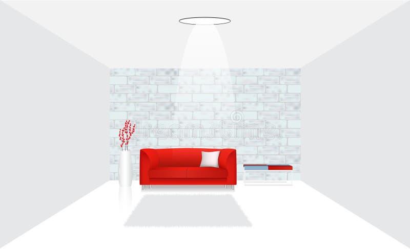 Realistisch binnenland met sofa en lijst tegen een bakstenen muur vector illustratie