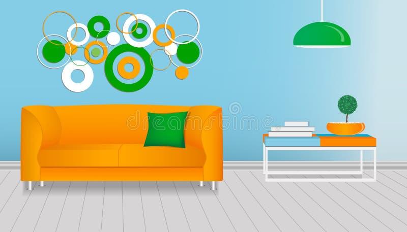 Realistisch binnenland van een moderne woonkamer Oranje en groen malplaatje royalty-vrije illustratie