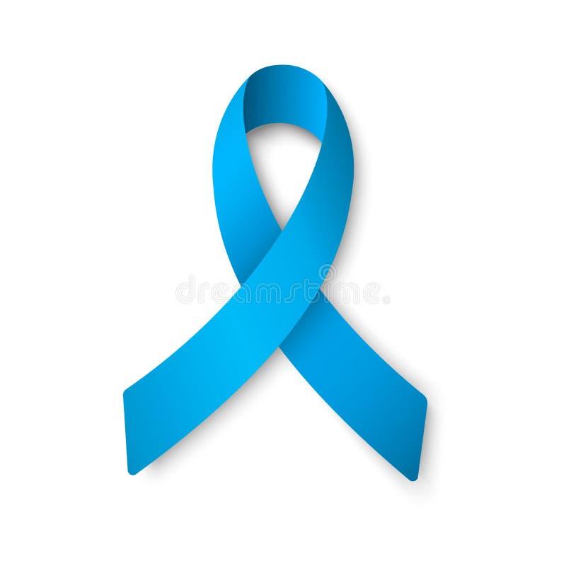 Realistisch blauw lint De Dagconcept van wereld Prostate Kanker Het concept van de mensengezondheidszorg royalty-vrije illustratie